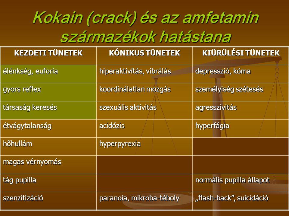 Kokain (crack) és az amfetamin származékok hatástana