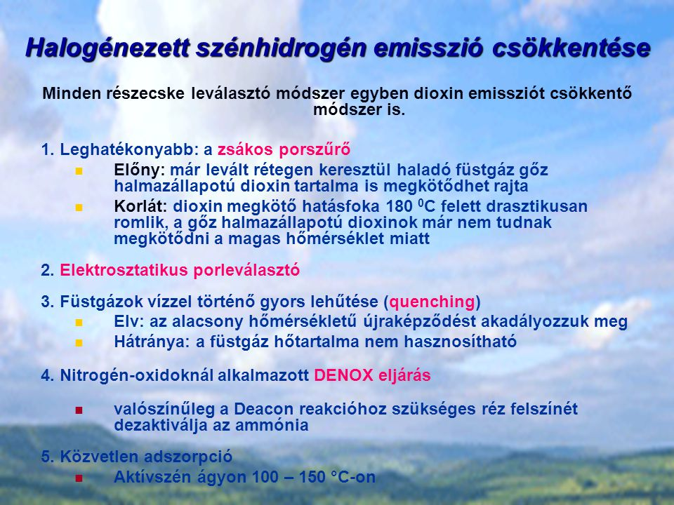 Halogénezett szénhidrogén emisszió csökkentése