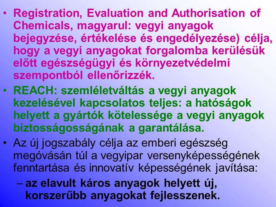 Registration, Evaluation and Authorisation of Chemicals, magyarul: vegyi anyagok bejegyzése, értékelése és engedélyezése) célja, hogy a vegyi anyagokat forgalomba kerülésük előtt egészségügyi és környezetvédelmi szempontból ellenőrizzék.