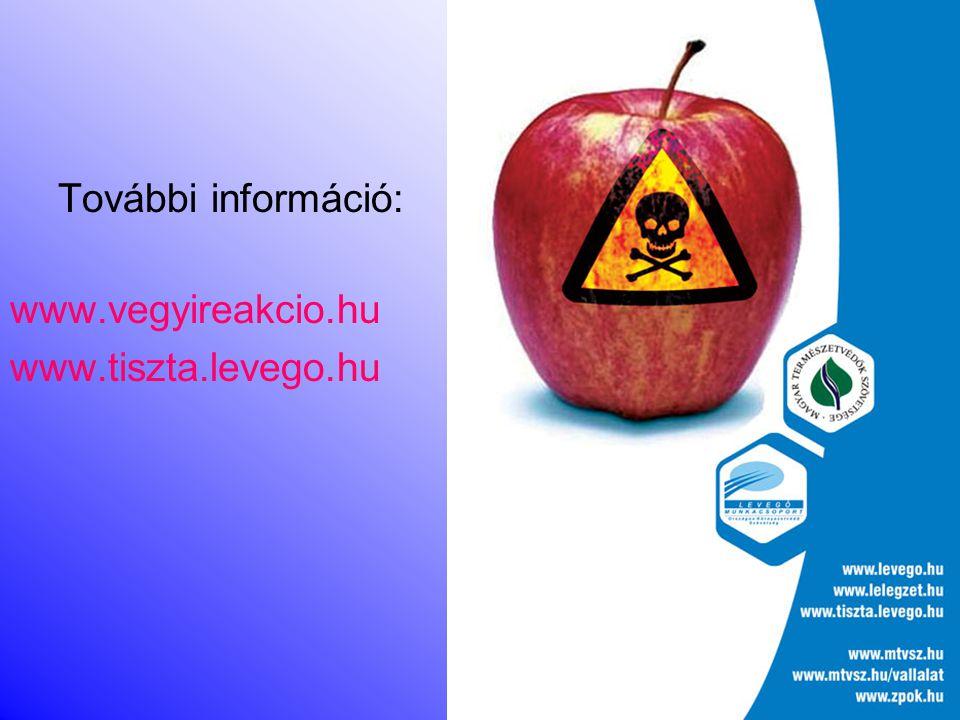További információ: www.vegyireakcio.hu www.tiszta.levego.hu
