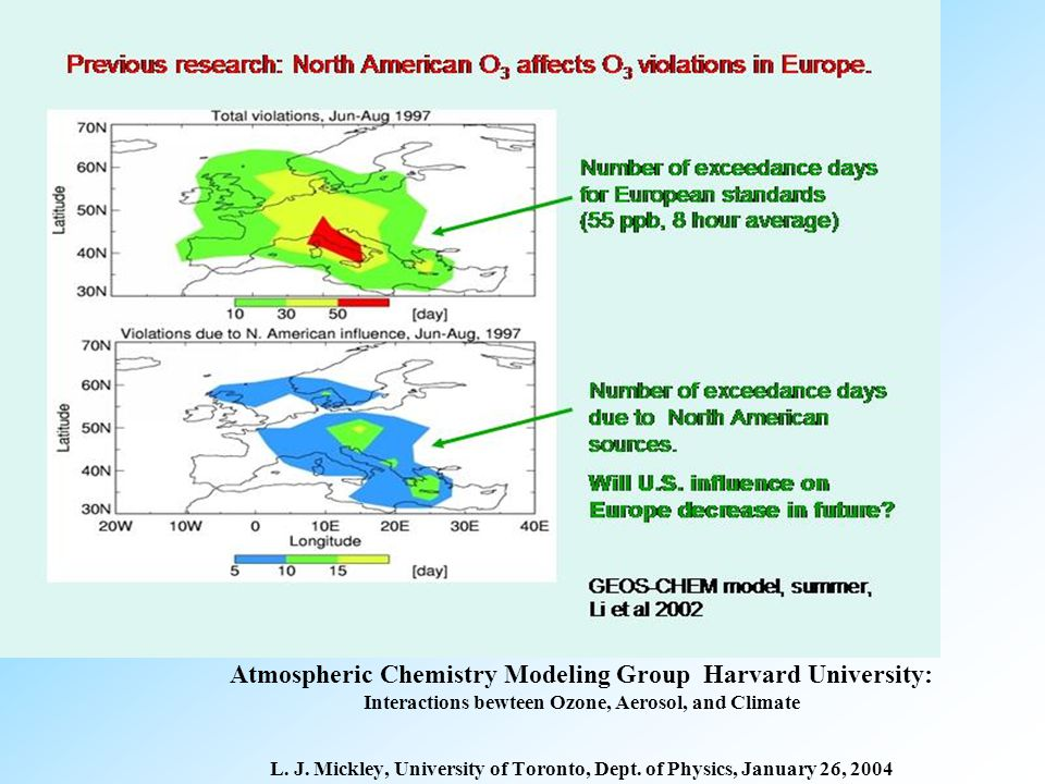 Atmospheric Chemistry Modeling Group Harvard University: Interactions bewteen Ozone, Aerosol, and Climate L.