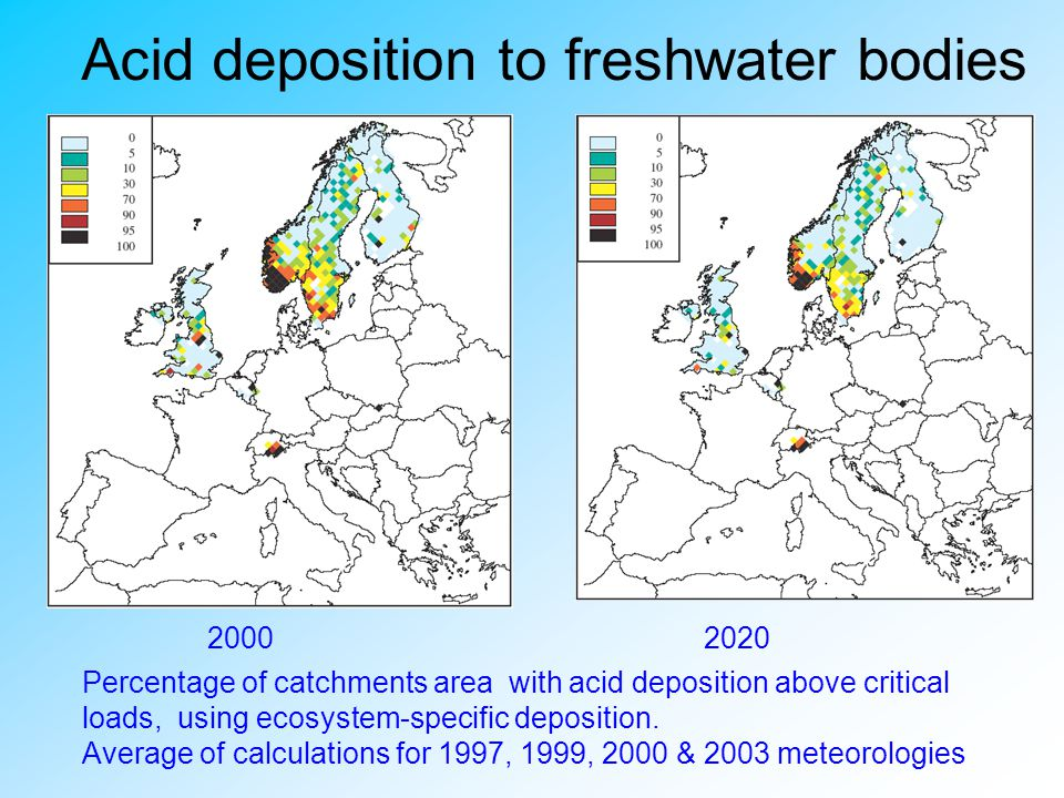 Acid deposition to freshwater bodies
