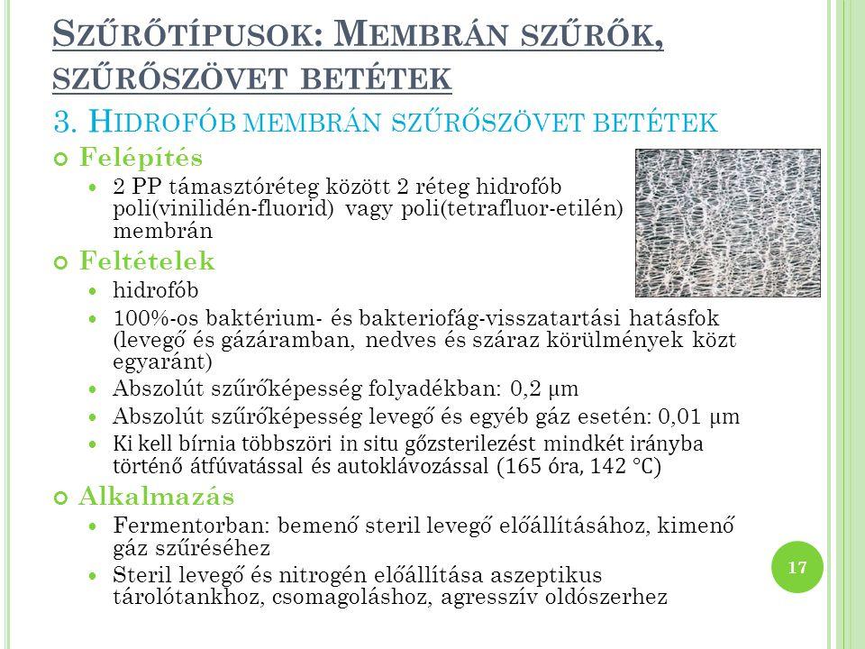 Szűrőtípusok: Membrán szűrők, szűrőszövet betétek