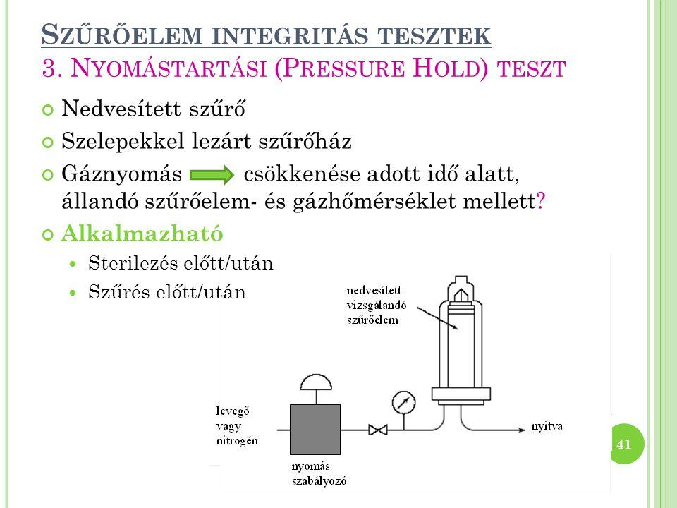 Szűrőelem integritás tesztek