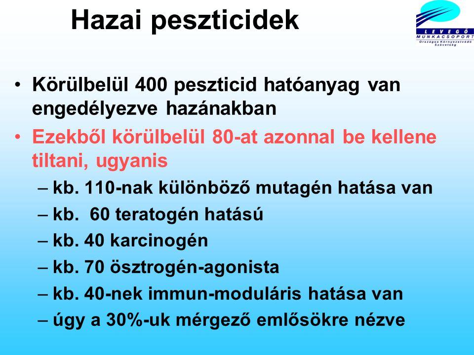 Hazai peszticidek Körülbelül 400 peszticid hatóanyag van engedélyezve hazánakban. Ezekből körülbelül 80-at azonnal be kellene tiltani, ugyanis.