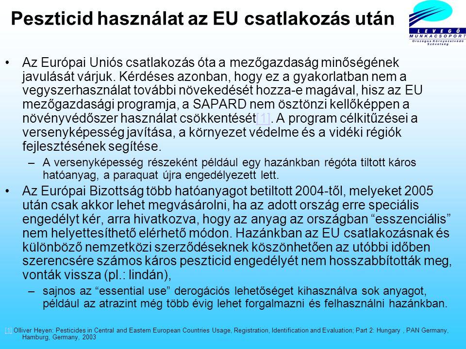 Peszticid használat az EU csatlakozás után