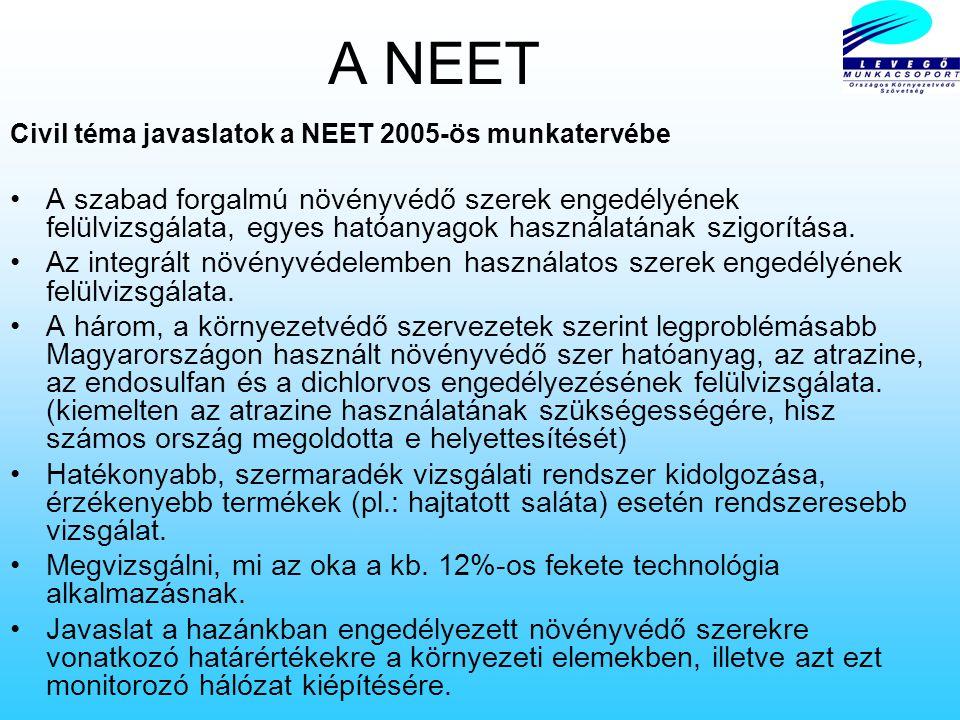 A NEET Civil téma javaslatok a NEET 2005-ös munkatervébe.