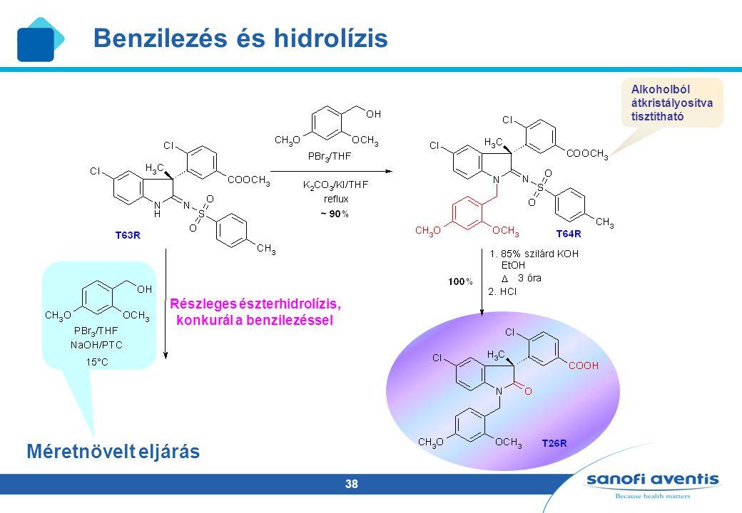 Részleges észterhidrolízis, konkurál a benzilezéssel