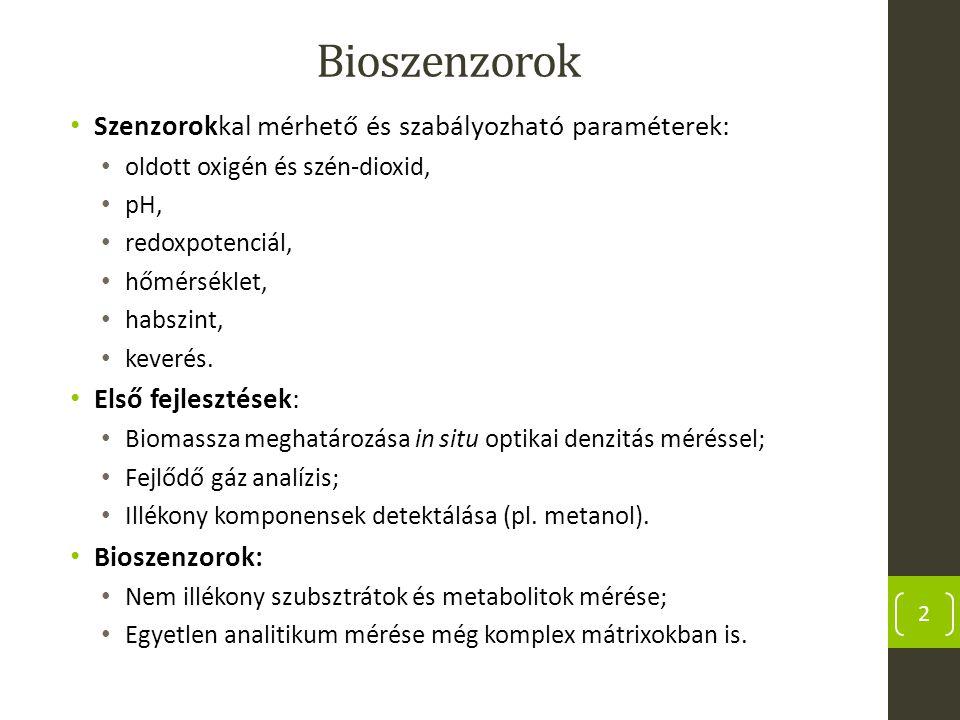 Bioszenzorok Szenzorokkal mérhető és szabályozható paraméterek: