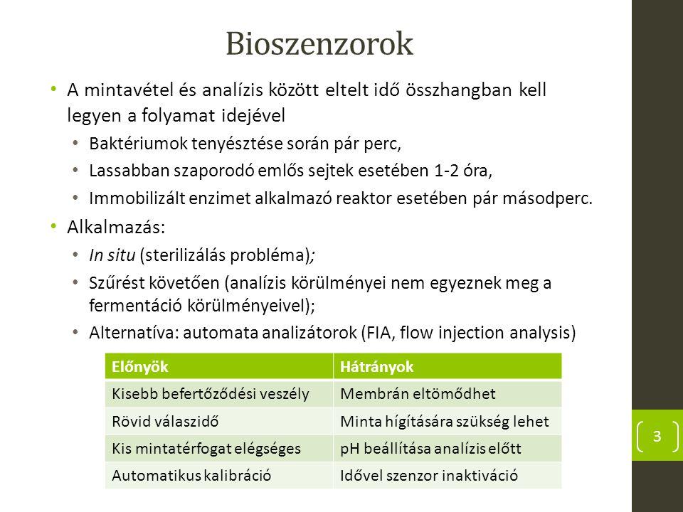 Bioszenzorok A mintavétel és analízis között eltelt idő összhangban kell legyen a folyamat idejével.