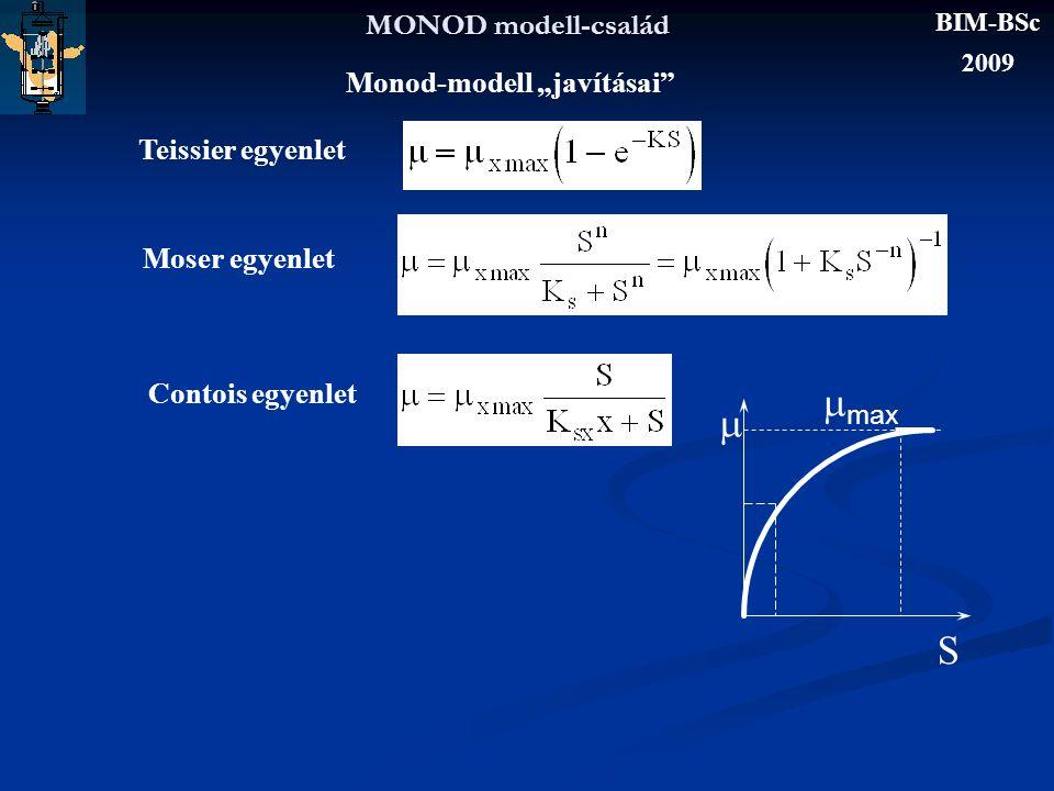 """mmax m S MONOD modell-család Monod-modell """"javításai"""