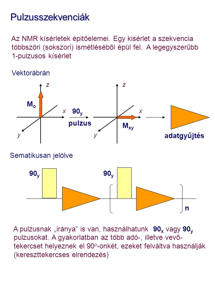 Pulzusszekvenciák Az NMR kísérletek épitőelemei. Egy kisérlet a szekvencia. többszöri (sokszori) ismétléséből épül fel. A legegyszerűbb.