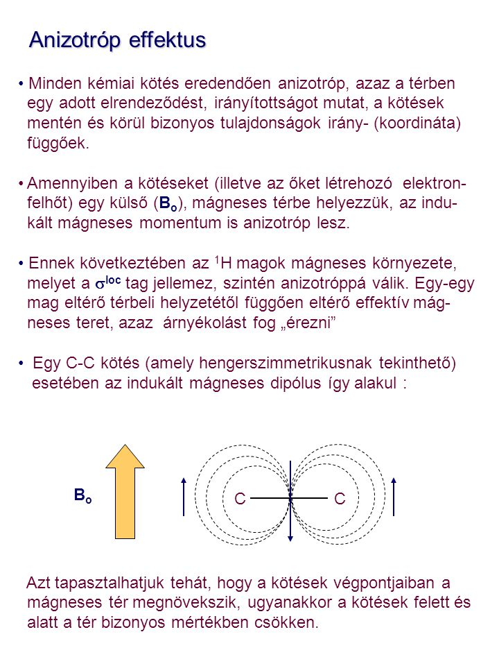 Anizotróp effektus Minden kémiai kötés eredendően anizotróp, azaz a térben. egy adott elrendeződést, irányítottságot mutat, a kötések.