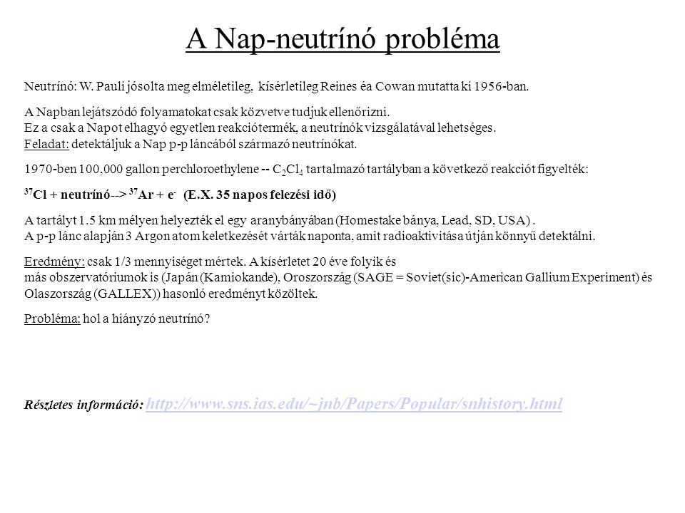 A Nap-neutrínó probléma