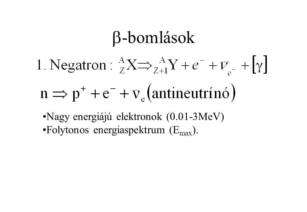 -bomlások Nagy energiájú elektronok (0.01-3MeV)