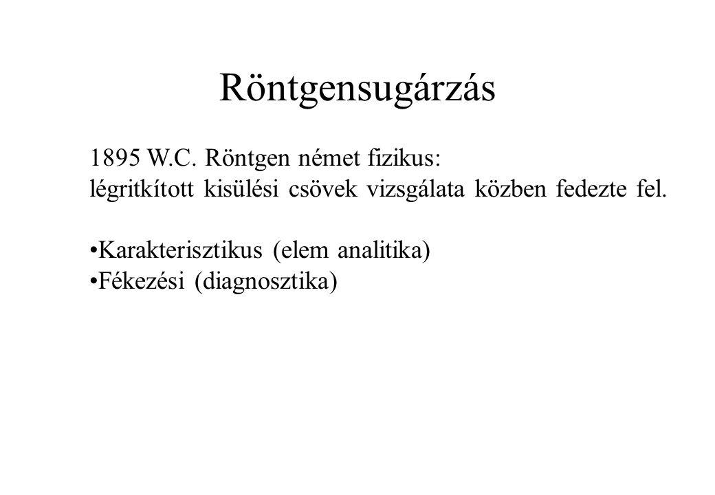 Röntgensugárzás 1895 W.C. Röntgen német fizikus: