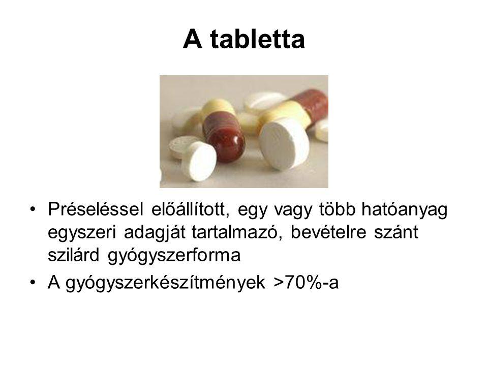 A tabletta Préseléssel előállított, egy vagy több hatóanyag egyszeri adagját tartalmazó, bevételre szánt szilárd gyógyszerforma.