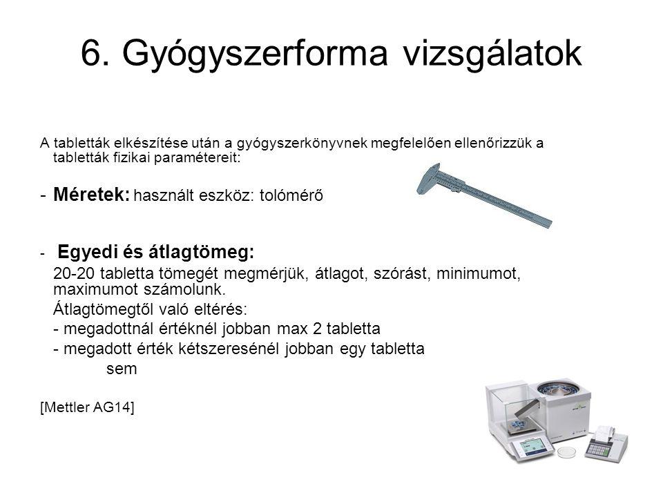 6. Gyógyszerforma vizsgálatok
