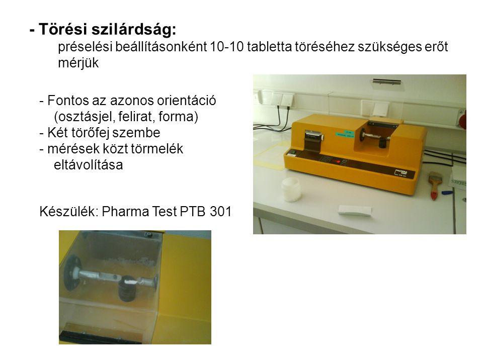- Törési szilárdság: préselési beállításonként 10-10 tabletta töréséhez szükséges erőt mérjük