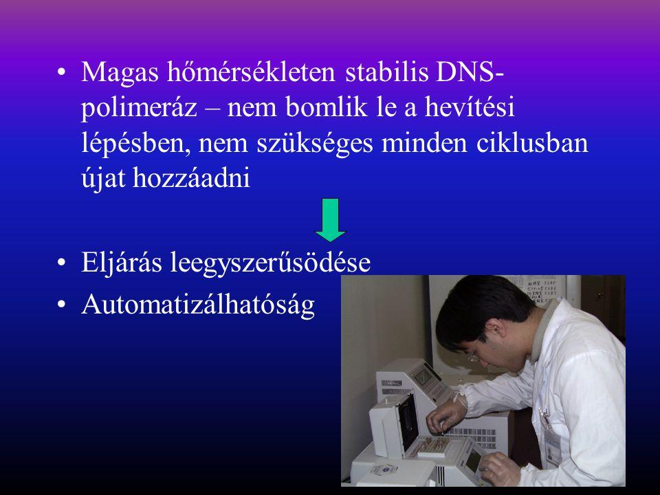 Magas hőmérsékleten stabilis DNS-polimeráz – nem bomlik le a hevítési lépésben, nem szükséges minden ciklusban újat hozzáadni