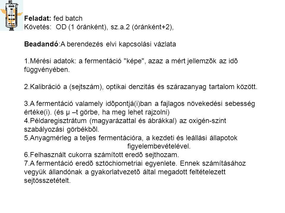 Feladat: fed batch Követés: OD (1 óránként), sz.a.2 (óránként+2), Beadandó:A berendezés elvi kapcsolási vázlata.