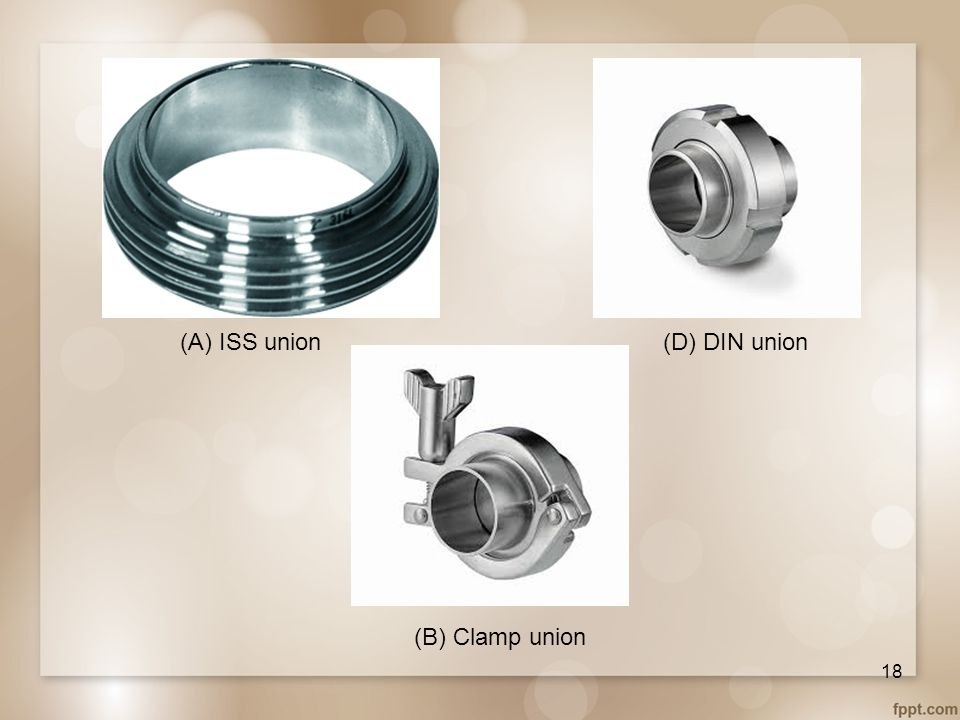 (A) ISS union (D) DIN union (B) Clamp union