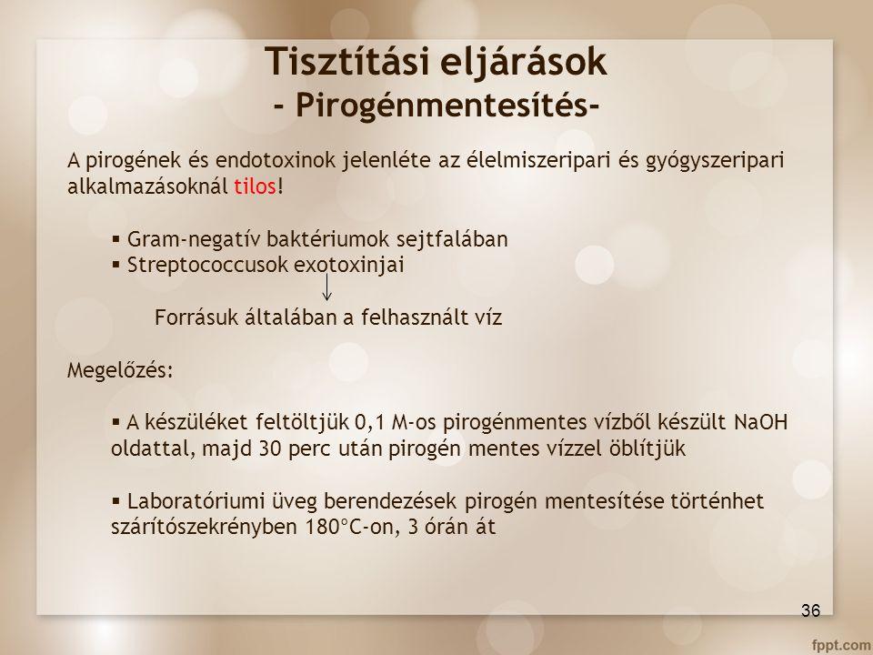 Tisztítási eljárások - Pirogénmentesítés-
