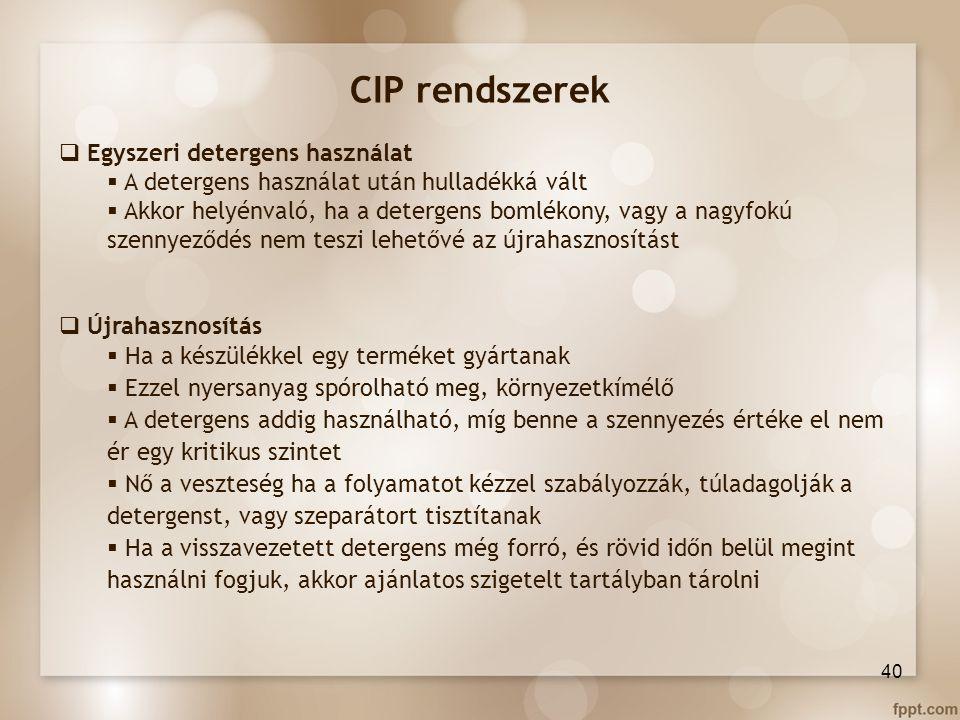 CIP rendszerek Egyszeri detergens használat