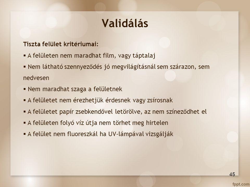 Validálás Tiszta felület kritériumai: