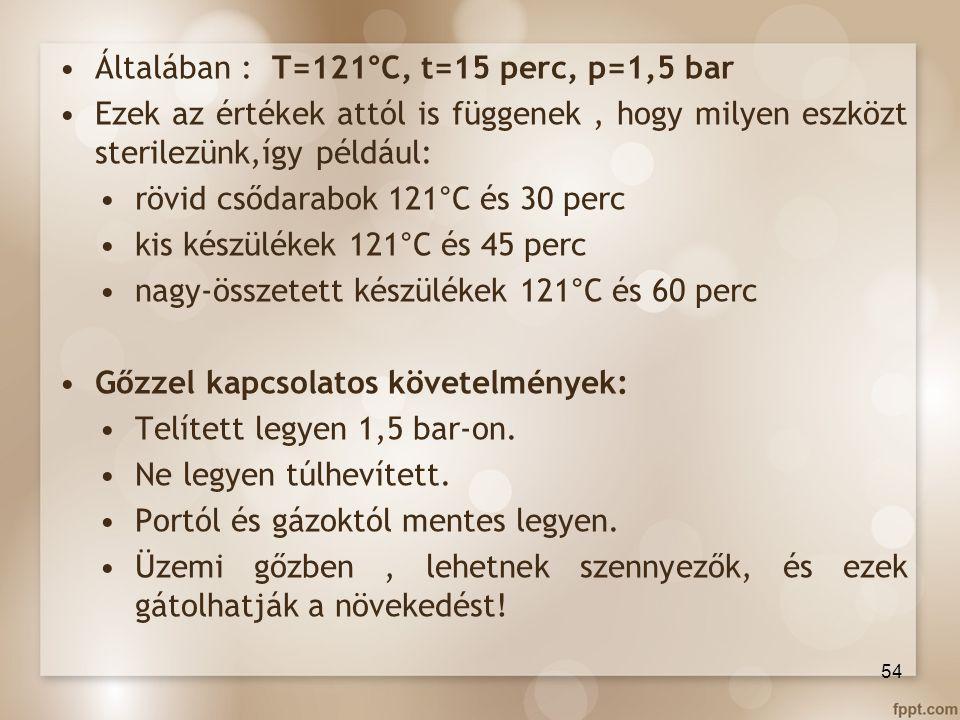 Általában : T=121°C, t=15 perc, p=1,5 bar