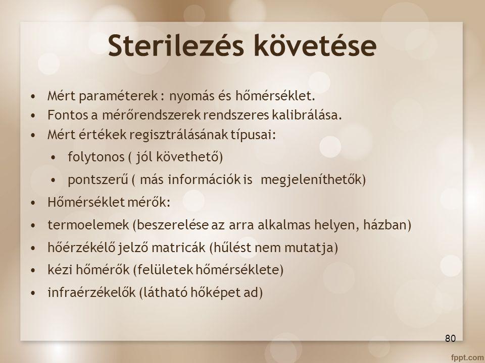 Sterilezés követése Mért paraméterek : nyomás és hőmérséklet.