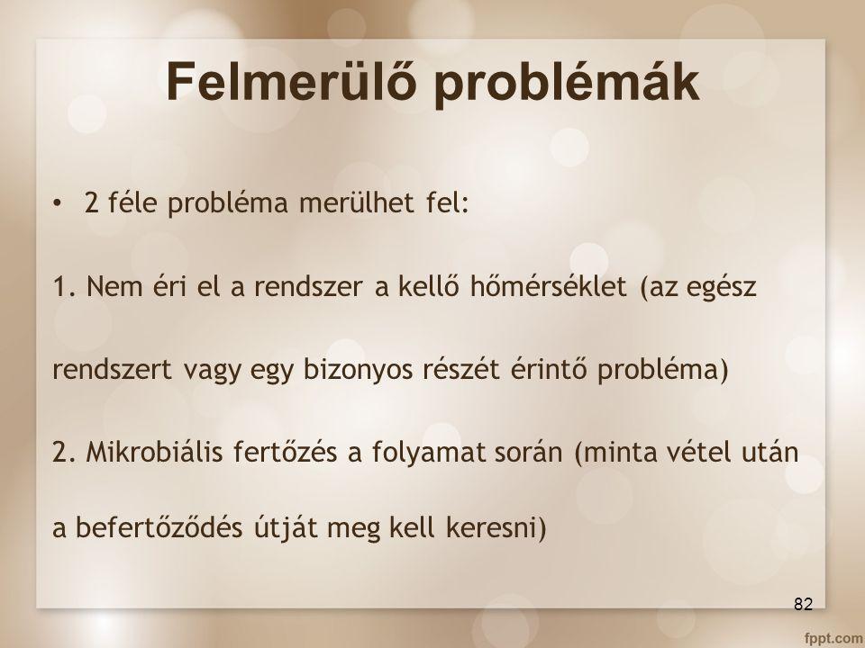 Felmerülő problémák 2 féle probléma merülhet fel:
