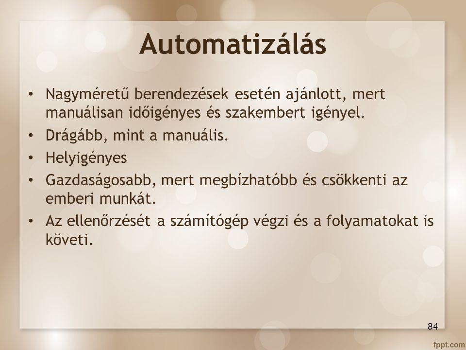 Automatizálás Nagyméretű berendezések esetén ajánlott, mert manuálisan időigényes és szakembert igényel.