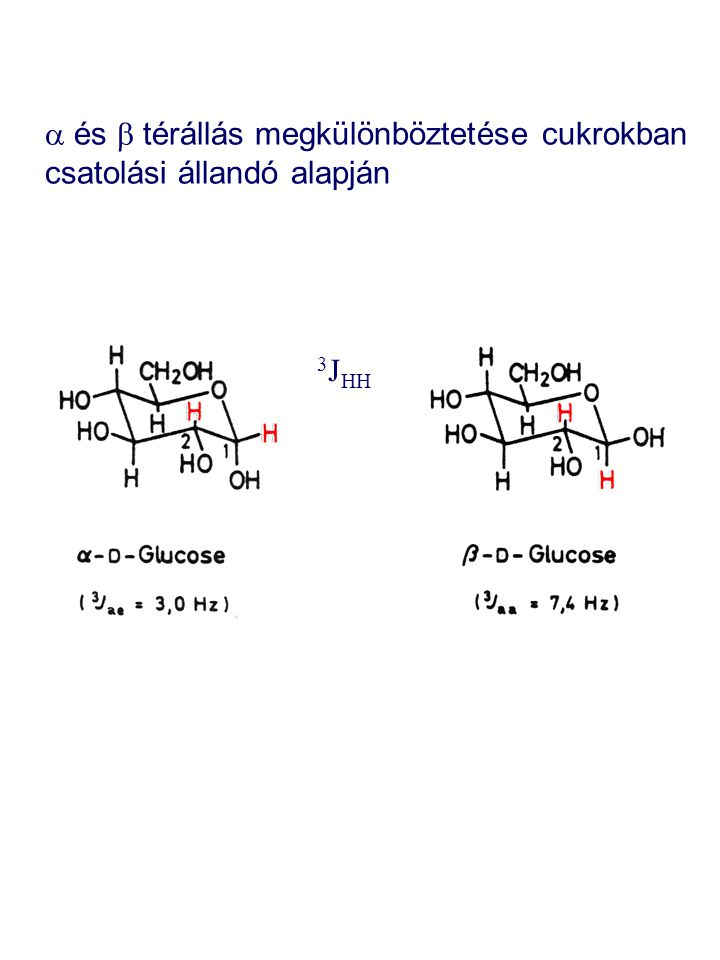 a és b térállás megkülönböztetése cukrokban csatolási állandó alapján