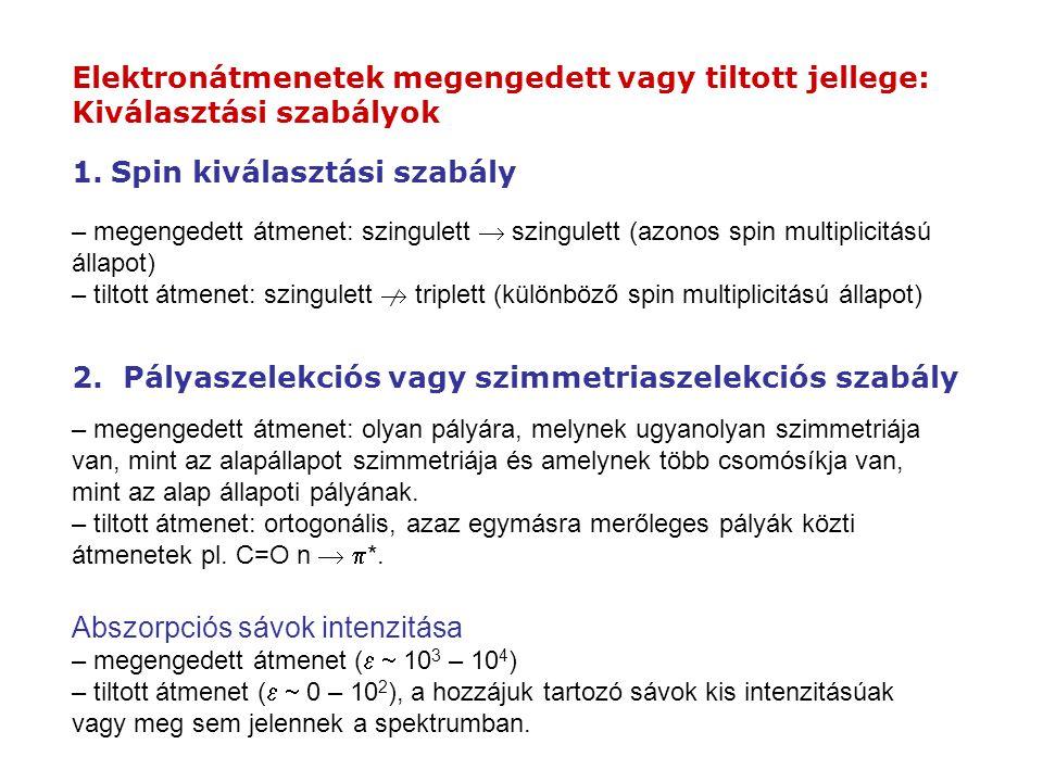 Elektronátmenetek megengedett vagy tiltott jellege: