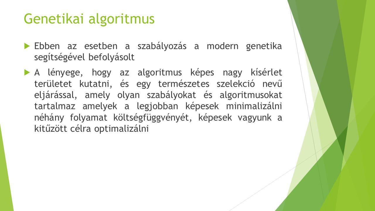 Genetikai algoritmus Ebben az esetben a szabályozás a modern genetika segítségével befolyásolt.