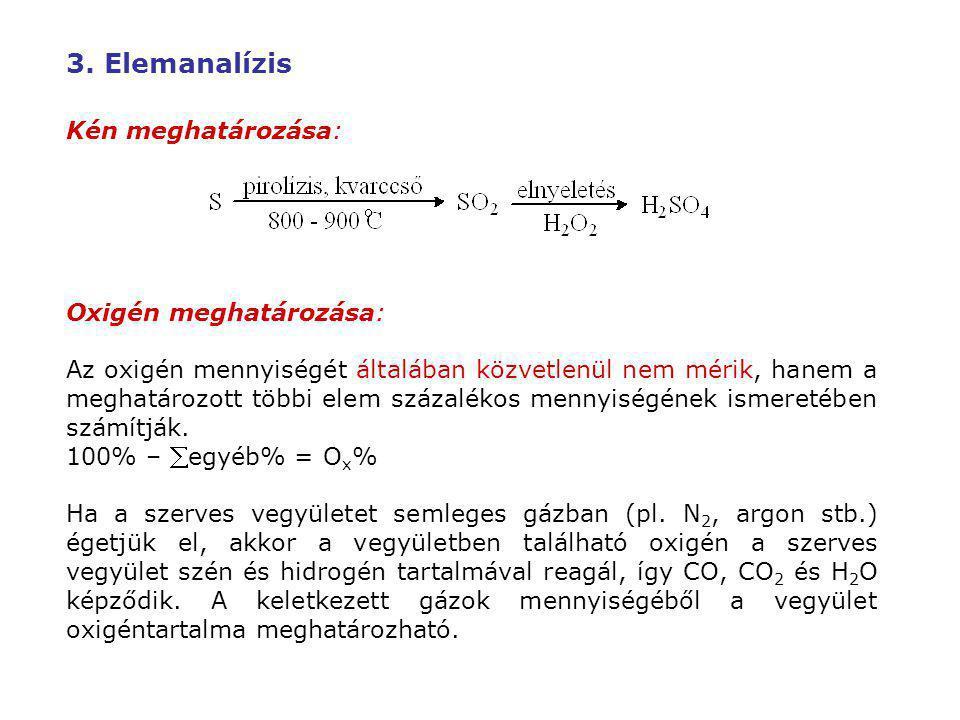 3. Elemanalízis Kén meghatározása: Oxigén meghatározása: