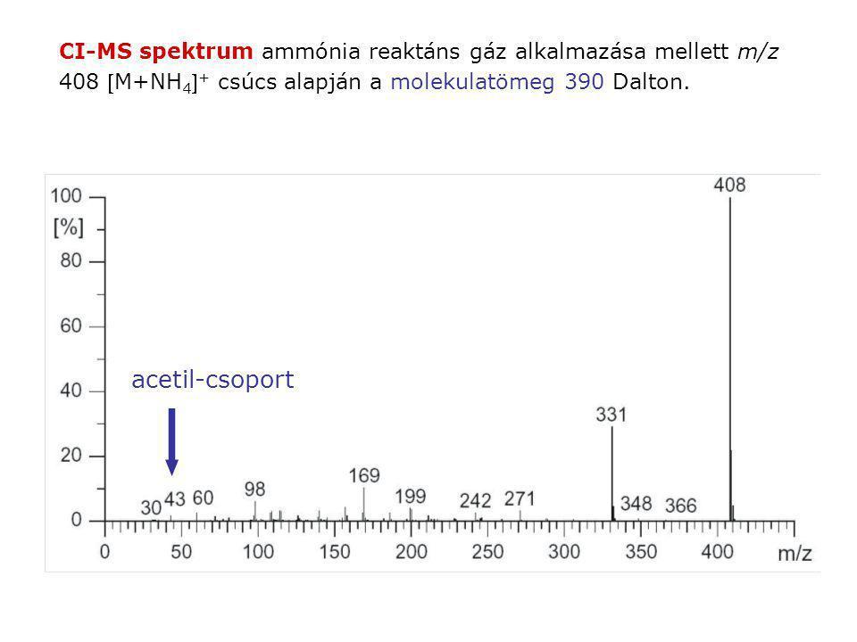 CI-MS spektrum ammónia reaktáns gáz alkalmazása mellett m/z 408 M+NH4+ csúcs alapján a molekulatömeg 390 Dalton.