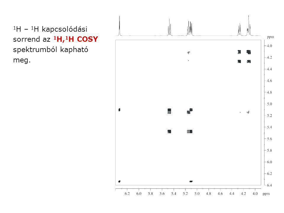 1H – 1H kapcsolódási sorrend az 1H,1H COSY spektrumból kapható meg.