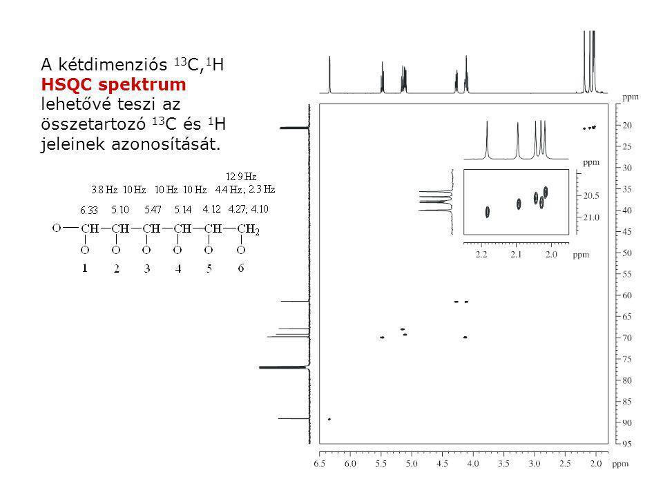 A kétdimenziós 13C,1H HSQC spektrum lehetővé teszi az összetartozó 13C és 1H jeleinek azonosítását.