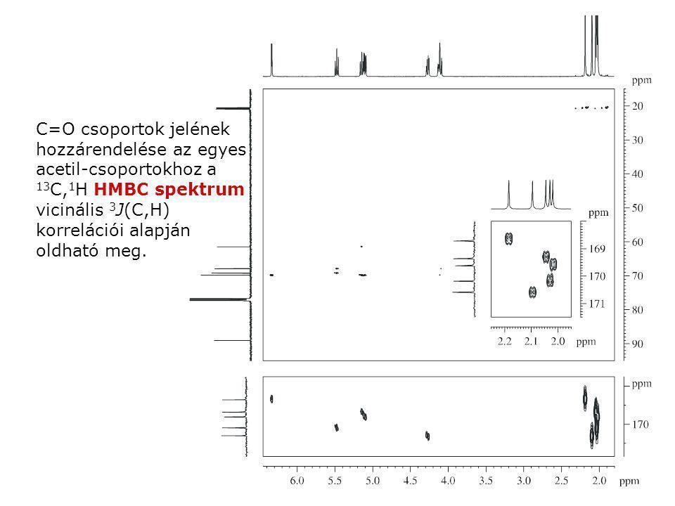 C=O csoportok jelének hozzárendelése az egyes acetil-csoportokhoz a 13C,1H HMBC spektrum vicinális 3J(C,H) korrelációi alapján oldható meg.