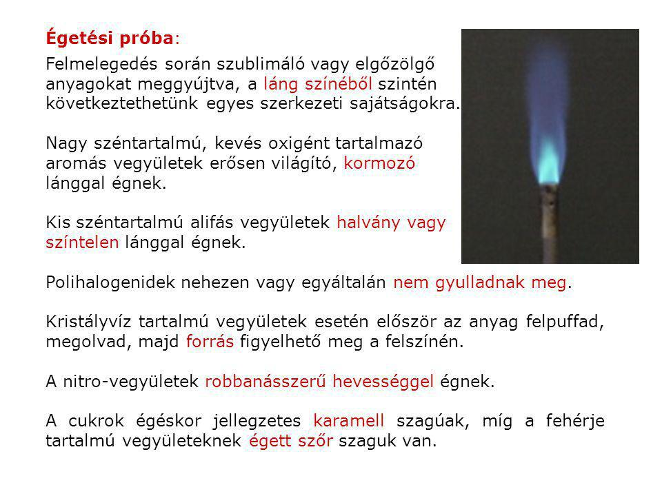 Égetési próba: Felmelegedés során szublimáló vagy elgőzölgő. anyagokat meggyújtva, a láng színéből szintén.