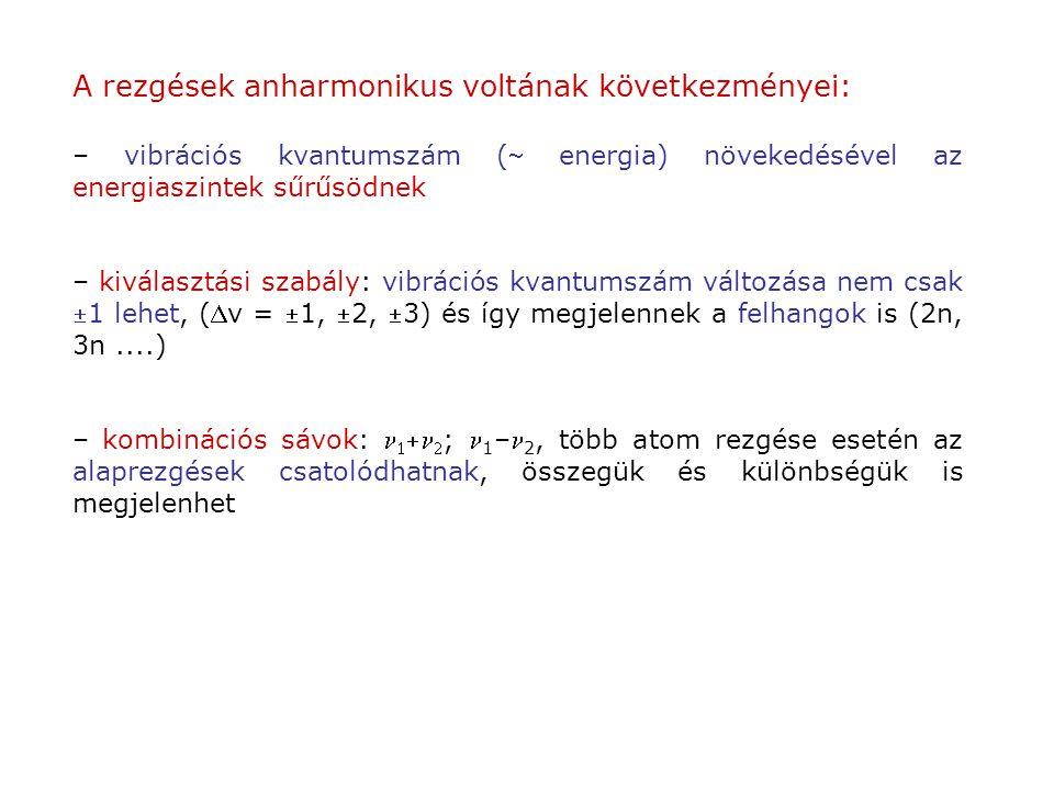 A rezgések anharmonikus voltának következményei: