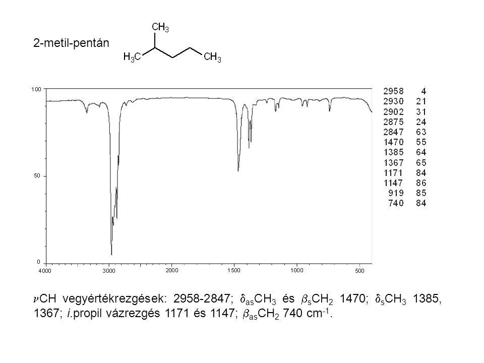2-metil-pentán CH vegyértékrezgések: 2958-2847; asCH3 és sCH2 1470; sCH3 1385, 1367; i.propil vázrezgés 1171 és 1147; asCH2 740 cm-1.