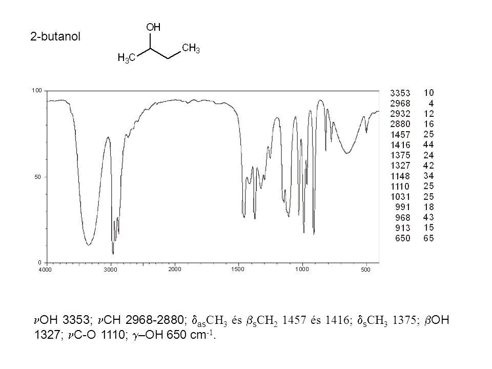 2-butanol OH 3353; CH 2968-2880; asCH3 és sCH2 1457 és 1416; sCH3 1375; OH 1327; C-O 1110; –OH 650 cm-1.