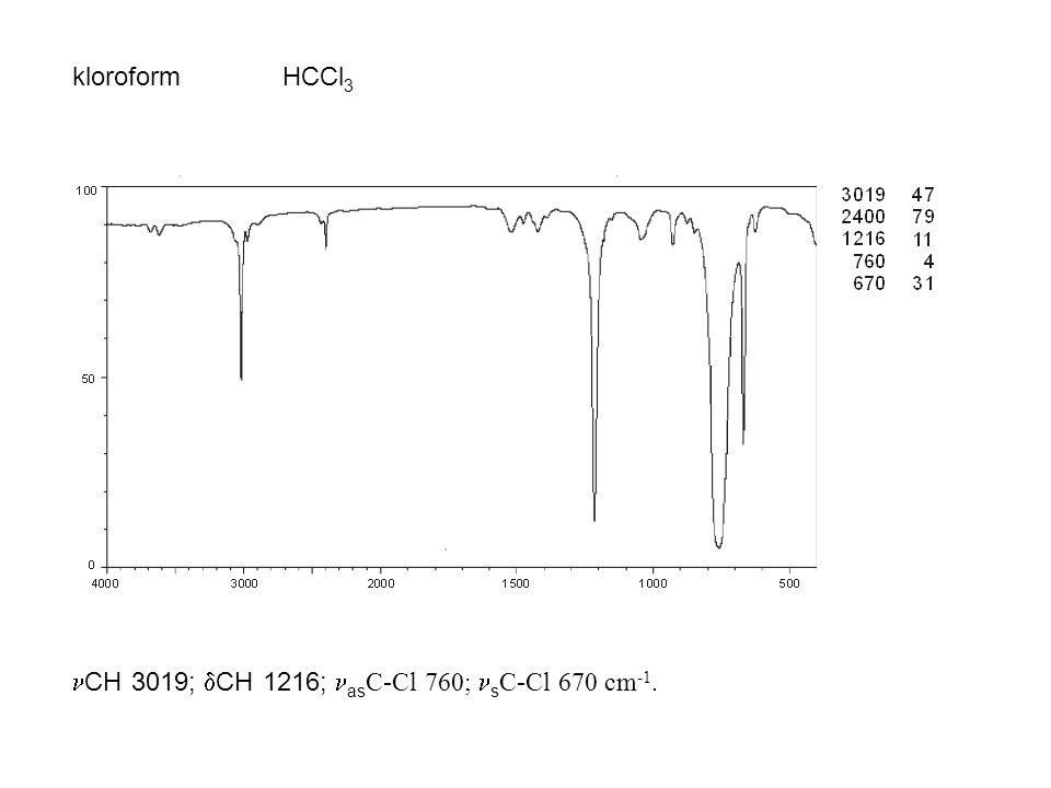 kloroform HCCl3 CH 3019; CH 1216; asC-Cl 760; sC-Cl 670 cm-1.