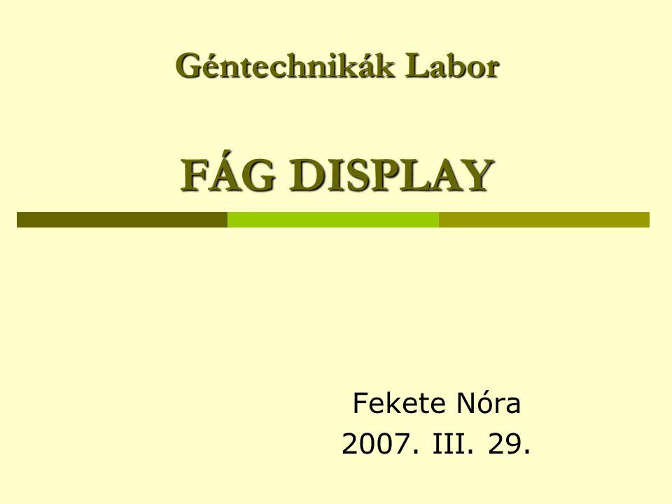 Géntechnikák Labor FÁG DISPLAY