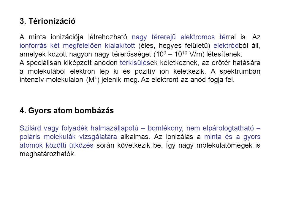 3. Térionizáció 4. Gyors atom bombázás