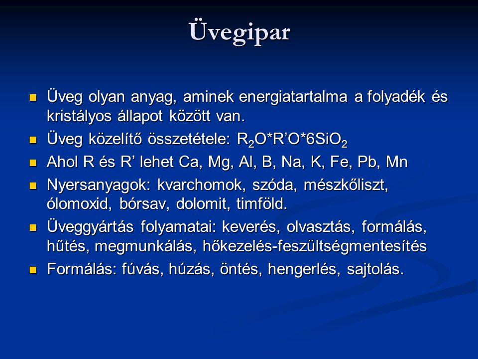 Üvegipar Üveg olyan anyag, aminek energiatartalma a folyadék és kristályos állapot között van. Üveg közelítő összetétele: R2O*R'O*6SiO2.