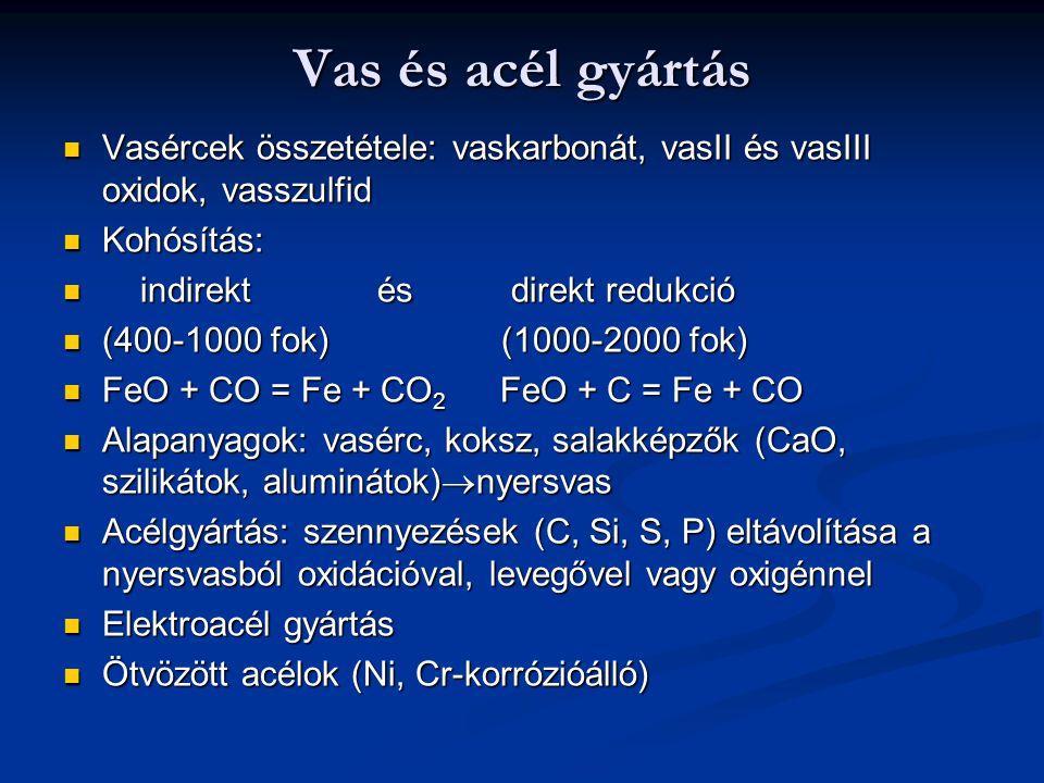 Vas és acél gyártás Vasércek összetétele: vaskarbonát, vasII és vasIII oxidok, vasszulfid. Kohósítás: